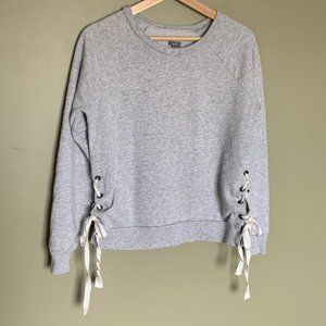 Aerie grey side lace up crew neck pullover M